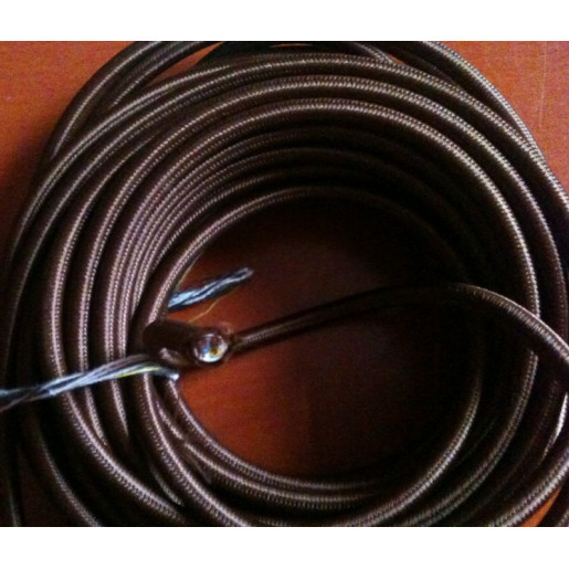 Kabel w oplocie okrągły brązowy 2x0,75