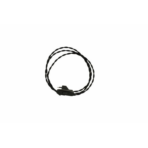 Kabel przyłączeniowy w oplocie skręcanym z wyłącznikiem CZARNY