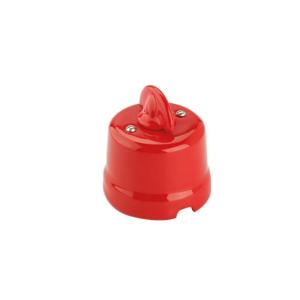 Włącznik ceramiczny natynkowy pojedynczy CZERWONY retro 9007/IR/RS