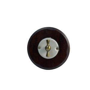 Porcelanowy włącznik pojedynczy/schodowy podtynkowy złoty Gi_GAMBARELLI, Arreda Round/Tonda,20.110.11