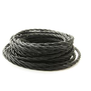 Kabel w oplocie skręcanym czarny 3x1,5mm