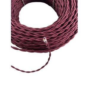 Kabel w oplocie skręcanym bordowy 2x0,75 F.A.I (Włochy)