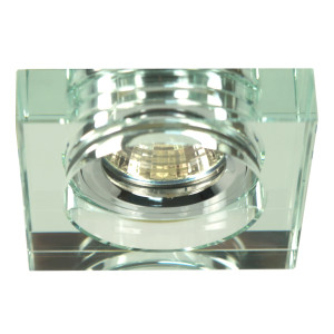 SS-16 CH/WH MR16 CHROM oczko sufitowe lampa sufitowa. STROP. STAŁA KWADRATOWA SZKŁO BEZBARWNE