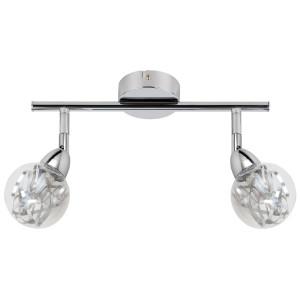 BOLO LAMPA SUFITOWA LISTWA 2X6W LED SMD GŁÓWKA OKRĄGŁA 1E Z PRZEGUBEM KLOSZ WYMIENNY KD SYSTEM CHROM/BEZBARWNY