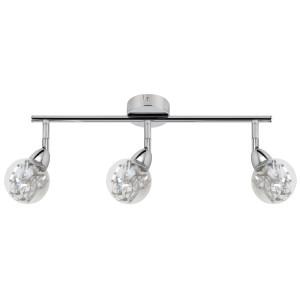 BOLO LAMPA SUFITOWA LISTWA 3X6W LED SMD GŁÓWKA OKRĄGŁA 1E Z PRZEGUBEM KLOSZ WYMIENNY KD SYSTEM CHROM/BEZBARWNY