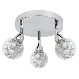 BOLO LAMPA SUFITOWA PLAFON 3X6W LED SMD GŁÓWKA OKRĄGŁA 1E Z PRZEGUBEM KLOSZ WYMIENNY KD SYSTEM CHROM/BEZBARWNY