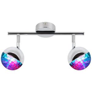 PARTY LAMPA SUFITOWA LISTWA 2X3W LED RGB GŁÓWKA OKRĄGŁA 1E Z PRZEGUBEM KD SYSTEM CHROM