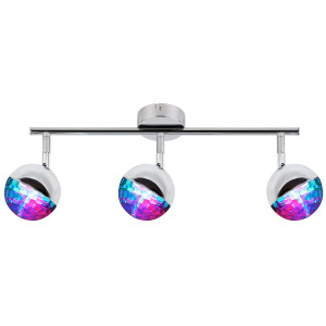PARTY LAMPA SUFITOWA LISTWA 3X3W LED RGB GŁÓWKA OKRĄGŁA 1E Z PRZEGUBEM KD SYSTEM CHROM