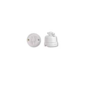 Porcelanowy włącznik natynkowy obrotowy modern, biały, GiGambarelli, 00400