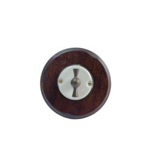 Porcelanowy włącznik pojedynczy/schodowy podtynkowy brąz Gi_GAMBARELLI, Arreda Round/Tonda,20.110.14