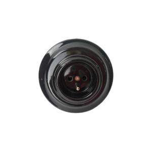Ceramiczne Podtynkowe Gniazdo Czarne z bolcem uziemiającym  w stylu retro