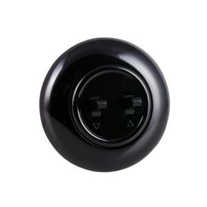 Włącznik żaluzjowy/roletowy z ramką, czarny połysk, H1-R1210