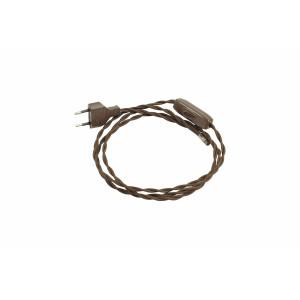 Kabel przyłączeniowy w oplocie skręcanym z wyłącznikiem BRĄZOWY