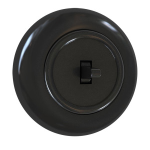 Włącznik pojedynczy schodowy z ramką, czarny połysk
