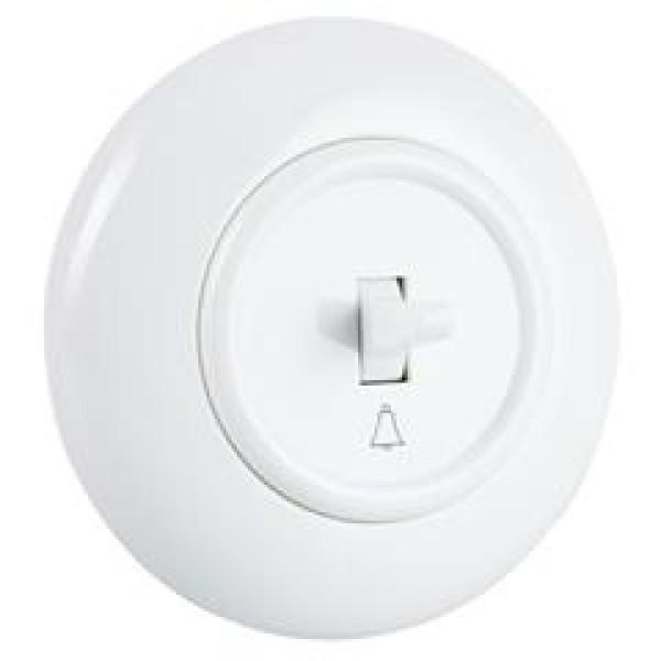 Włącznik dzwonkowy z ramką, biały połysk