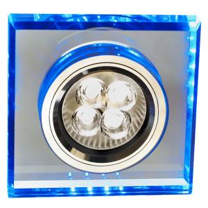 SS-22 CH/TR+BL GU10 50W+LED SMD 2 1W NIEBIESKI 230V CHROM oczko sufitowe lampa sufitowa STAŁA KWADRATOWA SZKŁO TRANSPARENTNE