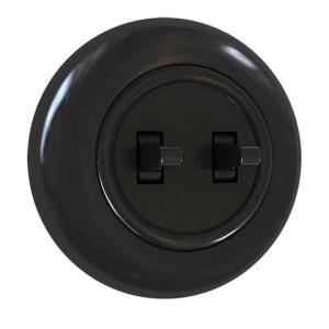 Włącznik podwójny schodowy z ramką, czarny połysk